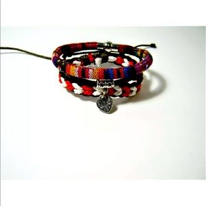 3pc Bracelet LOT Tribal Style Woven Charm Leather